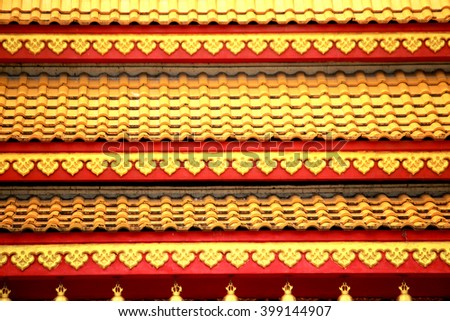 Thai style tile roof in the temple