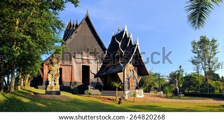 Thai style traditional wooden house in Chiang Rai, Northern Thailand - stock photo