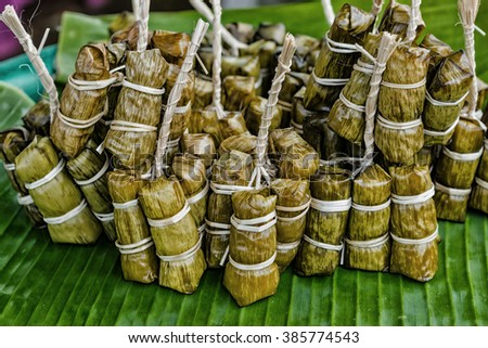 Thai Sweets bunch of mush with banana filling or Kao-Tom-Mud