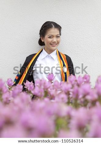 thai teen ager in graduate uniform - stock photo