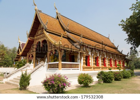Thai temple in Northern Thailand (Chiang Mai) - Wiang Kum Kam - stock photo