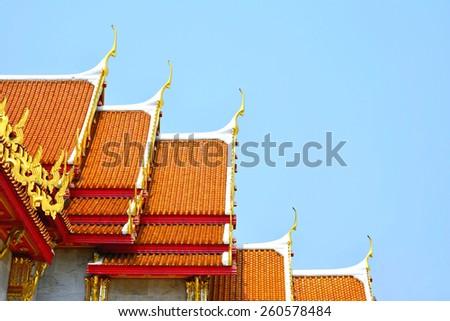 Thai temple roof  (Wat Benchamabophit Dusitvanaram (marble temple)) - stock photo