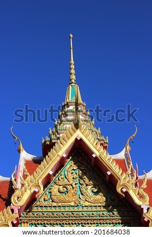 thai temple roof with king of nagas decoration