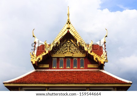 Thai temple roof with white background