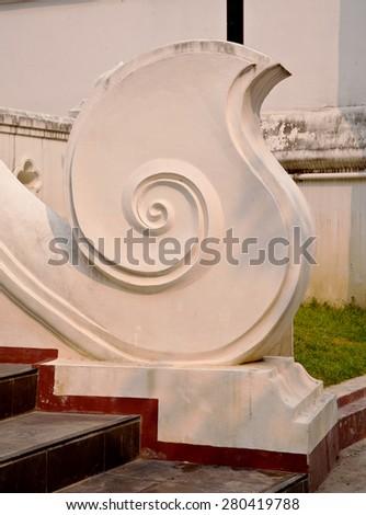 Thai temple wall - stock photo