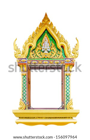 Thai temple window isolated on white - stock photo