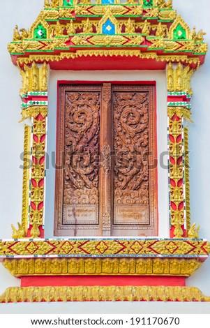Thai temple window sculpture - stock photo
