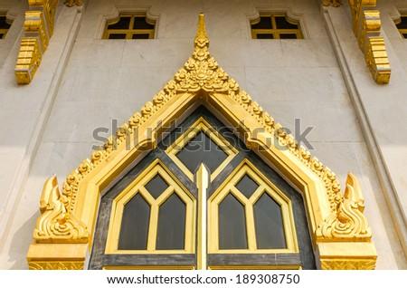 Thai temple windows sculpture - stock photo