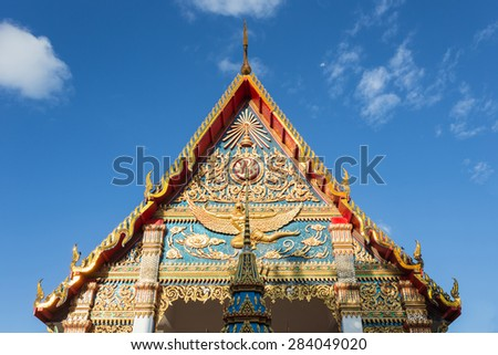 Thai temple with beautiful Thai style architect in Phuket, Thailand