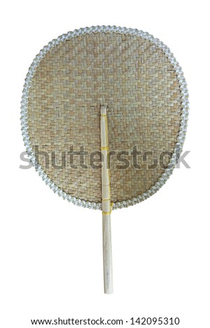 Thai tradition fan isolate on white - stock photo