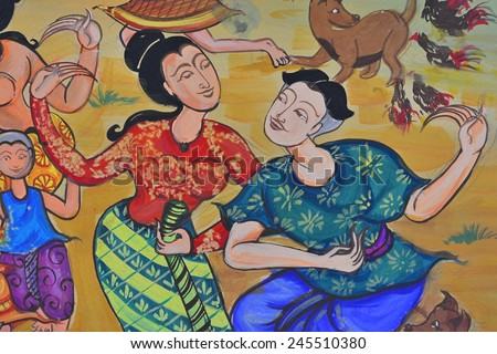 Thai tradition style art with poster color