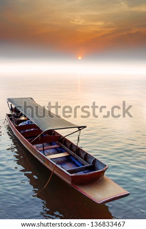 Thai traditional boat in sunset
