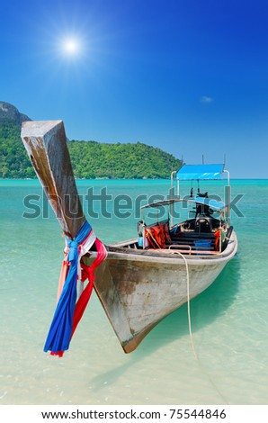 Thai traditional boats on Phi-Phi island.