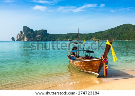 Thai traditional boats on Phi-Phi Islands,Thailand - stock photo