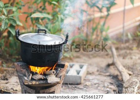 Thai traditional charcoal burning clay stove