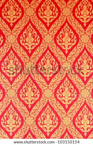 Thai traditional classic pattern in decorated temple - stock photo