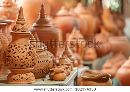 Thai traditional clay pottery in ko Kret island, thailand - stock photo