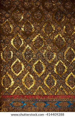 Thai traditional decorative mosaic, architecture - stock photo