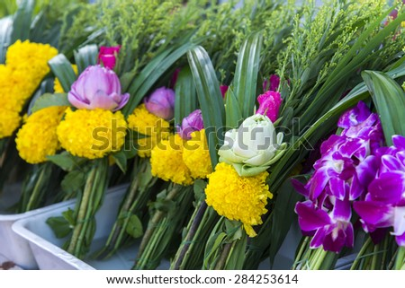 Thai traditional  lotus bouquet, it use for worship to buddha, super natural and holy thing - stock photo