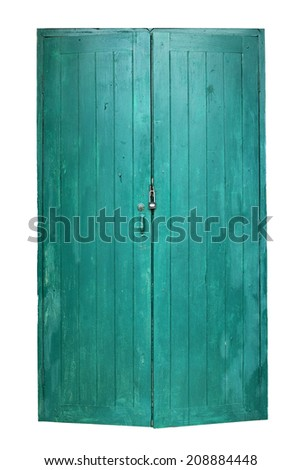 Thai traditional old door isolated on white background - stock photo