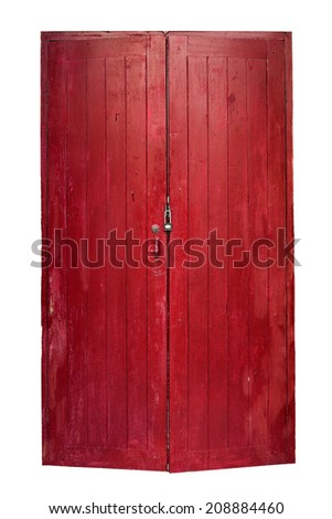 Thai traditional old door isolated on white background