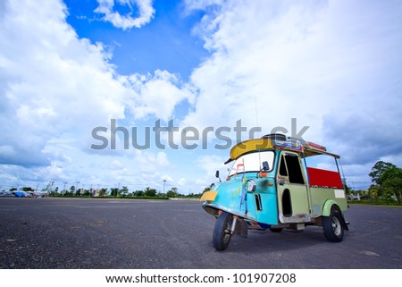 Thai traditional Tuk Tuk in Trang of Thailand - stock photo