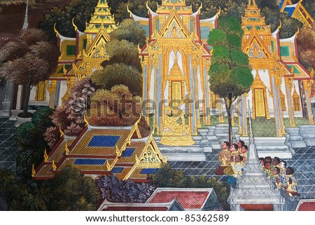 Thai traditional wall painting