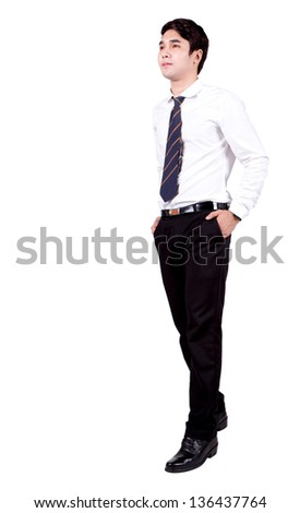 Thai university student put his hands in pockets and walking isolate on white - stock photo