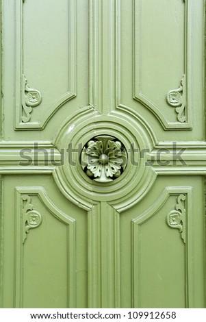 Thai Vintage Green Wooden Door - stock photo