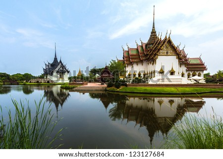 Thai wat is old architecture on local culture