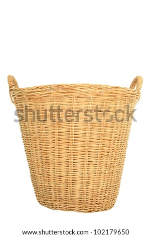 Thai wicker basket made by rattan isolated on white