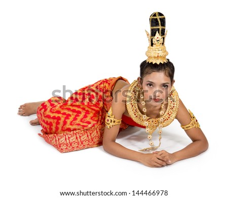 Thai woman in a submissive position - stock photo