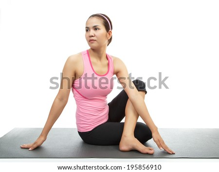 Thai woman stretching by modern yoga on white isolated.
