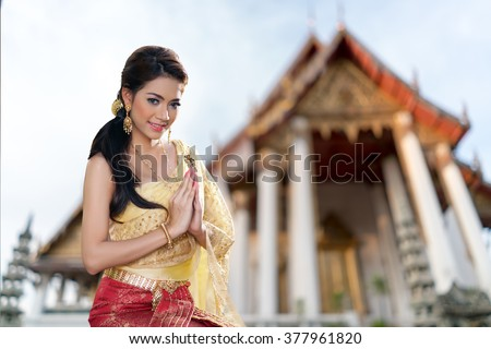 Thai woman wearing typical Thai dress, identity culture of Thailand