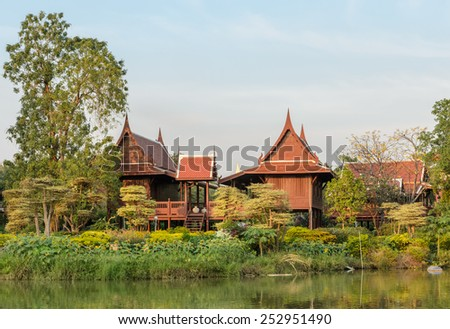 Thai wooden house with the garden