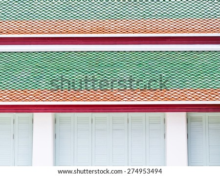 thailand abstract cross colors roof wat palaces in the temple  - stock photo