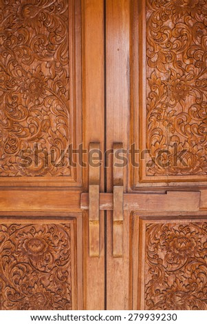 Thailand ancient wooden door - stock photo