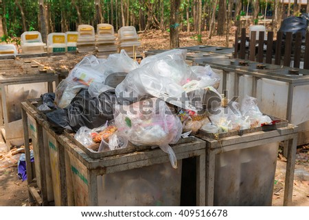thailand April 22 2016: The area for litter in the park for tourists in Thailand. - stock photo