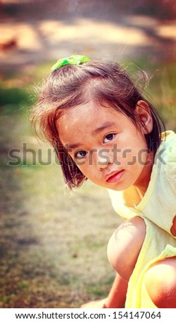Thailand Asian girl portrait, retro style colors.