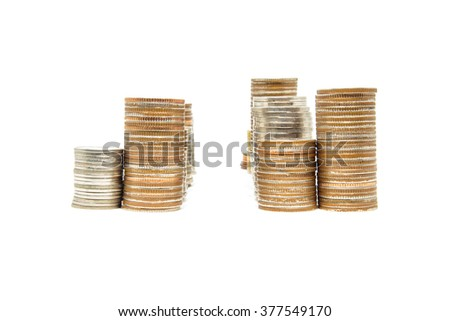 Thailand Baht coins arranged as tower on a white background. - stock photo