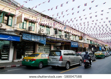 THAILAND, BANGKOK - OCT 5:Yaowarat Road,the main street in Chinatown, built by King Rama V.This crowded street winds through the bustling heart of Chinatown on October 5, 2012 in China town, Bangkok - stock photo