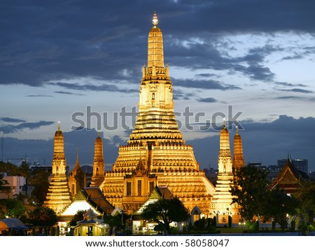 Thailand Bangkok Wat Arun temple at dusk - stock photo