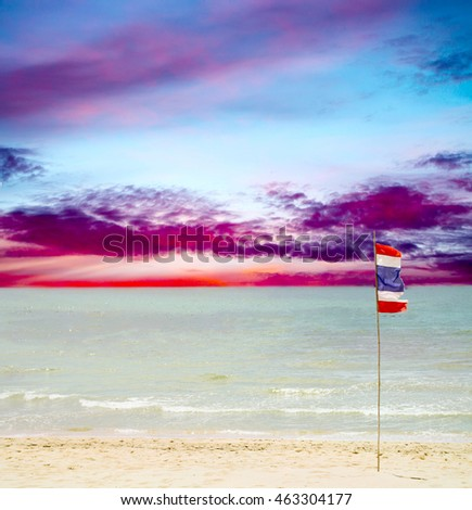 Thailand beach, sea sand sky, flag