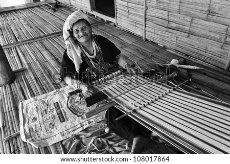 Thailand, Chiang Mai, Karen Long Neck hill tribe village (Kayan Lahwi), Karen woman - stock photo