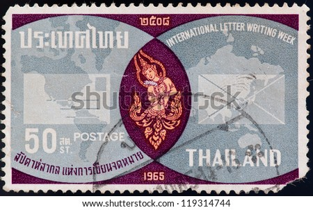 THAILAND - CIRCA 1965: a stamp printed by Thailand, shows International letter writing week, circa 1965