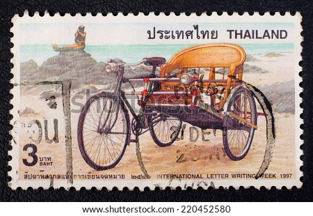 THAILAND - CIRCA 1997:A stamp printed in Thailand shows Tricycle, To commemorate international letter writing week,Thailand, circa 1997  - stock photo