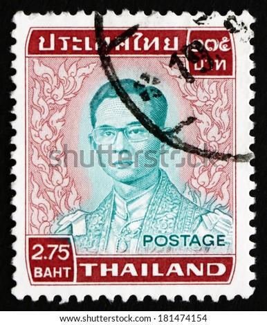 THAILAND - CIRCA 1972: a stamp printed in the Thailand shows King Bhumibol Adulyadej, Rama IX, King of Thailand, circa 1972 - stock photo