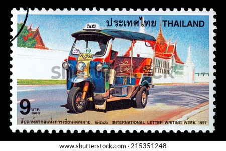 Thailand - Circa 1997: A Thai postage stamp printed in Thailand depicting a Thai Tuk-Tuk - stock photo