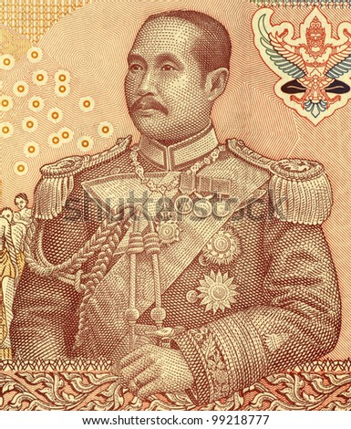 THAILAND - CIRCA 2005: Chulalongkorn (1853-1910) on 100 Bhat 2005 Banknote from Thailand. Fifth monarch of Siam under the House of Chakri.