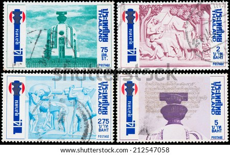 THAILAND - CIRCA 1982: stamps from Thailand, democracy Monument
